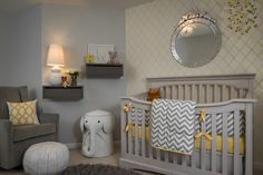 Beckwith Interiors - nurseries - Porters Paint - Fog - West Elm Graham Glider, Elephant Hamper, yellow and gray nursery