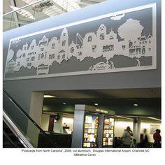This is a piece of public art in Douglas International Airport, Charlotte, NC. Design, Walker Art, Public Art, Postcard, Walker Art Center, Artist Books, Paper Artist, Street Art, Art Center