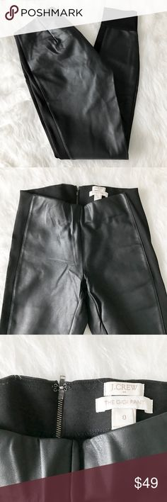 J. Crew Faux Leather Gigi Pant Ponté Tuxedo Stripe Gorgeous faux leather Gigi pants from J. Crew Factory. Stretchy ponte fabric stripe down each size and stretchy cuff at bottom hem. Black. Like-new condition, no flaws or signs of wear. Size 0. J. Crew Pants Skinny