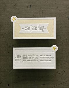 See Jane Blog Cards //  Client: Jane Rhodes  Design: Studio On Fire  //  Produciton Specs: Crane Lettra Flo White 220c Custom Diecut 2 inks/ 2 inks