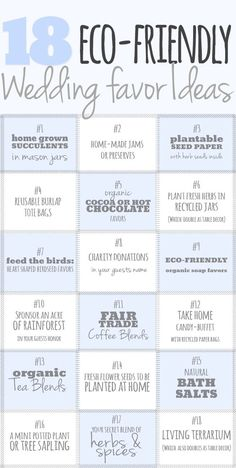 18 Eco Friendly Wedding Favor Ideas. Are you considering eco-friendly wedding favors for your special day? http://www.confettidaydreams.com/eco-friendly-wedding-favor-ideas/