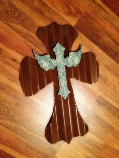Rustic  tin cross with wood angel $35.00