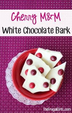 Cherry M&M White Chocolate Bark! ~ from TheFrugalGirls.com ~ just 2-ingredients to the perfect sweet treat! #dessert #recipes #thefrugalgirls