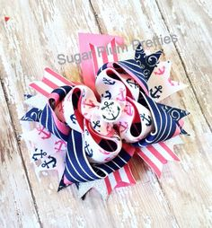 Nautical Pink and Navy Blue Anchor Hairbow Stacked with Spikes Boutique Bow RTS on Etsy, $9.00