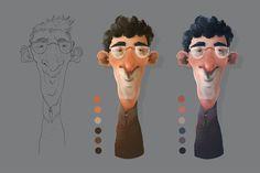 Mise en couleur - Character design Character Design Tutorial, Character Design Animation, 3d Character, Character Concept, Cartoon Head, Cartoon Drawings, Character Illustration, Illustration Art, 3 D