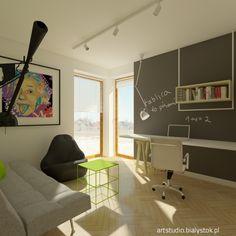 a young scientist`s room with black board   artstudio