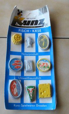Spielzeug für DDR Kaufmannsladen Schaugerichte Fisch Käse Steinzeug Gips OVP *** Nachwendezeit ***