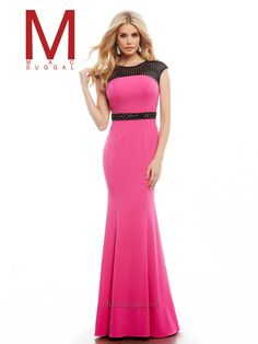 Size 0 Fuchsia - Black Cassandra Stone by Mac Duggal is a long prom gown with contrasting color sheer neckline and beaded waistband. Prom Dresses 2016, Long Prom Gowns, Prom Dresses Online, Evening Dresses, Prom 2016, Long Dresses, Pink Prom Dresses, Designer Prom Dresses, Bridal Dresses