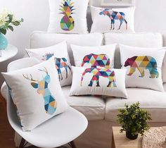 sofa back cushions on sale at reasonable prices, buy Nordic Geometric Triangles Animals Cushion Cover Bear Deer Elk Elephant Moose Pineapple Ananas Pillowcase Velvet Pillow Covers from mobile site on Aliexpress Now! Sofa Back Cushions, Couch Cushion Covers, Patio Furniture Cushions, Sofa Couch, Velvet Cushions, Pillow Covers, Bed Pillows, Velvet Sofa, Cushion Pillow
