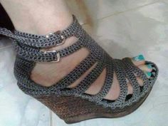 Sandalias Tejidas, Zapatos En Crochet - Bs. 16.000,00 en MercadoLibre