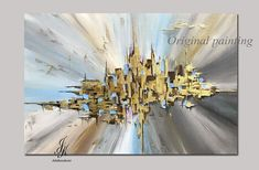 Abstract Acrylic Painting Gold Leaf Art Canvas Abstract