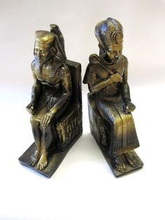 King Tut Vintage Bookends Egyptian Pharaoh by sweetie2sweetie
