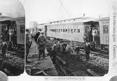 """This is claimed to be the first train to arrive in Salt Lake City. On it were guests from Ogden invited to the 1870 ceremony formally completing the pioneer Utah Central railroad, a local project built entirely by local labor and credited with being """"the only railroad west of the Missouri river that has been built entirely without government subsidies."""" The ceremony featured Brigham Young driving the last spike on Jan. 10, 1870. Later the Utah Central became part of the Union Pacific…"""