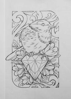 - neo traditional tattoo flash /… - Desenho by Fredão Flash Art Tattoos, Traditional Tattoo Sketches, Traditional Tattoo Flash, Kunst Tattoos, Tattoo Drawings, Neo Tattoo, Tattoo Painting, Bird Sketch, Schulter Tattoo