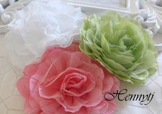 Set of 3 New Large Shabby Chic Frayed Wrinkled Cotton Voile and Tulle Rose Fabric Flower - White / Celery Green / Pink. $8.25, via Etsy.