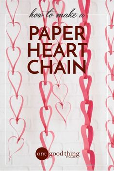 These paper heart chains are fun and easy to make, and they're a cute way to add a bit of festive Valentine's charm to your home! #valentinesday #diyvalentines