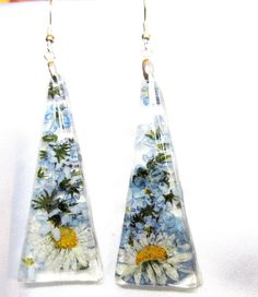 Daisy and Forget me not  Long Earrings,Real Flowers,  Pressed Flowers, Resin  via Etsy.