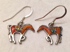 Vintage Navajo Calvin Begay Sterling Silver Spiny Oyster and Mother of Pearl Horse Earrings on Etsy, $130.00