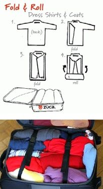 To save space while packing, roll your clothes.  This also helps keep them wrinkle free!   :)