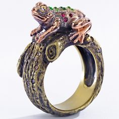 Frog and Prince Maneater Ring by Wendy Brandes. (Prince is inside shank.)
