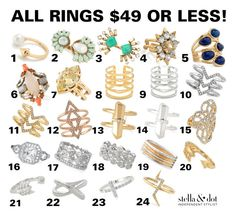 Ring, rings galore! Purchase from me today! Shop my link! #rings #stelladot www.stelladot.com/jaf