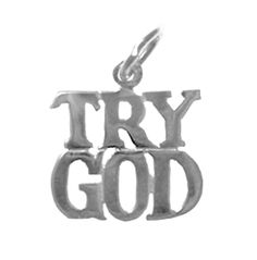 "Sterling Silver, Sayings Pendant, ""TRY GOD"" - Peoples Choice 12 Step Recovery…"