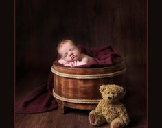 Newborn Photography Girl or Boy Prop Wooden Barrel by KingsCloth