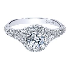 560164dc8 Gabriel NY Diamond Halo Engagement Ring 1.08ctw 14K White Gold Round Halo  Engagement Rings,