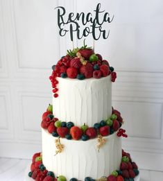Topper na tort BEST DAY Berry Cake, Fruit Decorations, Cake Decorating, Wedding Cakes, Berries, Birthday Cake, Desserts, Food, Wedding Gown Cakes