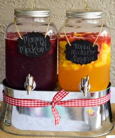 "Mommy Mocktail Cocktail and Tropical Moscato Sangria: Drink Table for a ""Brewing a Baby"" or Baby-BBQ Coed Baby Shower"