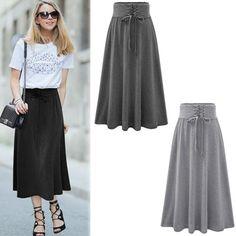 Women Lady Long Pleated Maxi Beach Dress Long Skirt Elastic Waist Cotton Skirt #UnbrandedGeneric #Maxi