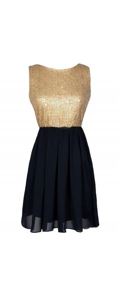 Go For Gold Sequin and Chiffon Dress in Navy  www.lilyboutique.com