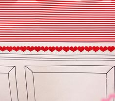 "Cupid's Post Office backdrop: chair rail with paneling and striped wrapping paper ""wall paper"""