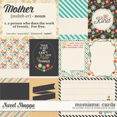 Momisms Cards by Amber Shaw & Tickled Pink Studio  digital scrapbook kit