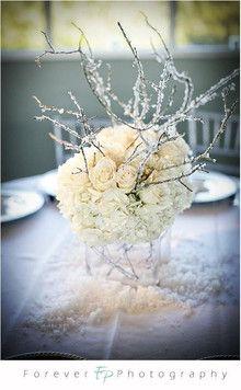 Winter wedding reception table centerpiece