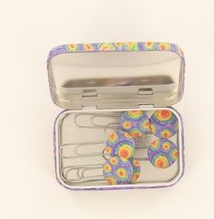 premo! Watercolor Swirls Cane Covered Tin with Matching Paperclips