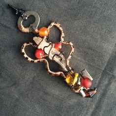 Fall's Treasures- Antique Key, Quartz and Glass Bead Pendant by KannasTreasureTrove on Etsy