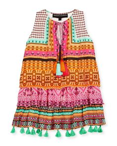 Tiered Silk Multipattern Dress, Pink/Orange, Size 8-12 - Hemant and Nandita