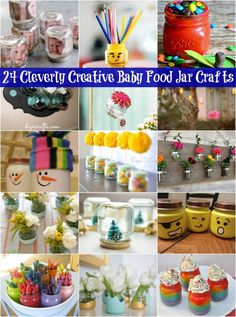 24 Cleverly Creative Baby Food Jar Crafts – It's all about Repurposing! 24 C… 24 Cleverly Creative Baby Food Jar Crafts – It's all about Repurposing! 24 Cleverly Creative Baby Food Jar Crafts – It's all about Repurposing! Jam Jar Crafts, Baby Food Jar Crafts, Baby Crafts, Crafts For Kids, Baby Jars, Baby Food Jars, Food Baby, Baby Food Containers, Pots