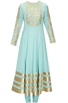 Aqua blue floral applique work anarkali set  by Armaan Aiman. Shop at: www.perniaspopups.... #anarkali #armaanaiman #clothing #shopnow #perniaspopupshop #happyshopping.
