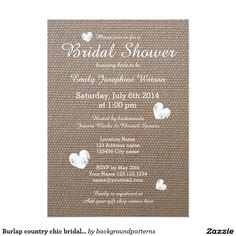 Burlap country chic bridal shower invitations