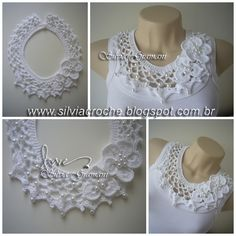 Silvia Gramani crochet lace trim for blouses shirts Justyna Golebiowska na Stylowi.Free crochet chandelier necklace pattern with video tutorial from bhooked by britanny featured in recent sova enterprises com newsletter – Artofit collari e colletti Col Crochet, Crochet Diy, Crochet Motifs, Crochet Collar, Crochet Blouse, Lace Collar, Crochet Scarves, Irish Crochet, Crochet Shawl