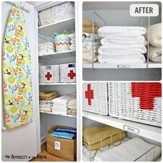 Hall linen closet organization ideas... love these RED CROSS medical supplies baskets!  Everyone knows what should go in there!  :)