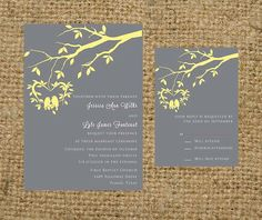 Gray and Light Yellow Hanging Love Birds Wedding Invitation Set Suite - colors… Wedding Pins, Wedding Paper, Wedding Cards, Our Wedding, Wedding Bells, Dream Wedding, Love Birds Wedding, Yellow Wedding, Wedding Colors