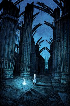 """tinymediaempire: """" """"in the house of the undying"""" for HBO & Mondo Gallery's Game of Thrones art show 7 color screenprint on black paper """" Daenerys in the House of the Undying: Beautiful Screen Print Illustration by tinymediaempire Like us on. Fantasy Places, Fantasy Art, Neon Azul, Daenerys Targaryen, Khaleesi, Game Of Thrones Art, Tim Walker, Mother Of Dragons, Fire And Ice"""