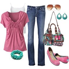 """Turquoise and Pink"" by pamnken on Polyvore"