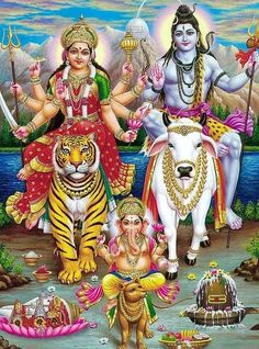 Hindu Art: Ma Durga, Shiva and Ganesh