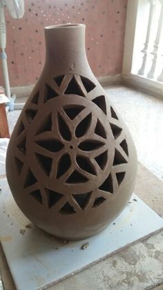 Pierced clay Lantern ready for firing. Right timing for piercing is very important. It was leather hard when I started the piercing.