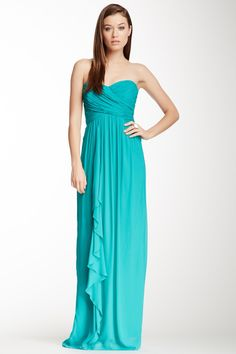 Angie Strapless Pleated Gown