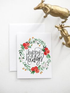 Holiday Greeting Cards - Happy Holidays Watercolor Floral Wreath - A-2 Single Card